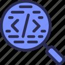 code, coding, programing, script, search icon