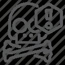 alarm, alert, crossbones, pirate, protection, skull, warning icon