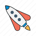 interactive, new, onboard, onboarding, proactive, rocket, startup icon