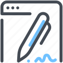 browser, network, optimization, pen, sign, signature, web icon