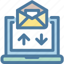 email, envelope, incoming, laptop, message, recieve, subscription icon