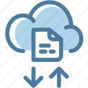 cloud, cloud computing, document, file, file sharing, storage, text icon