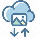 arrow, cloud, download, image, photo, photography, upload icon