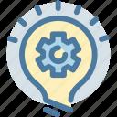 build, bulb, gear, idea, invent, light, settings icon
