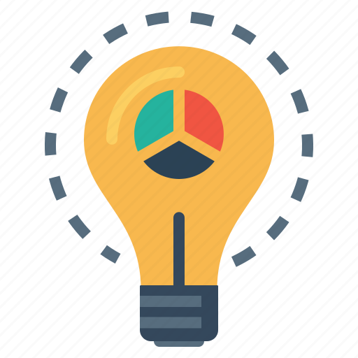 analysis, bulb, explore, idea, innovative, statics icon