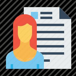 avatar, document, employee, lady, resume, shortlisted, woman icon