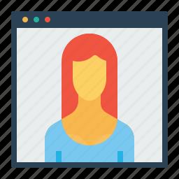 calculation, female, optimization, seo, visitor, webpage, website icon