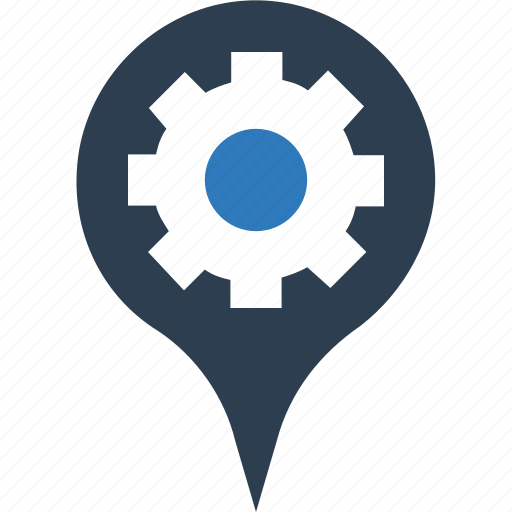 cog, location pointer, map marker, map pin, map setting, navigation icon