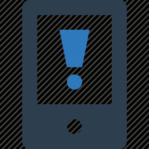 caution, exclamation, mobile alert, mobile error icon