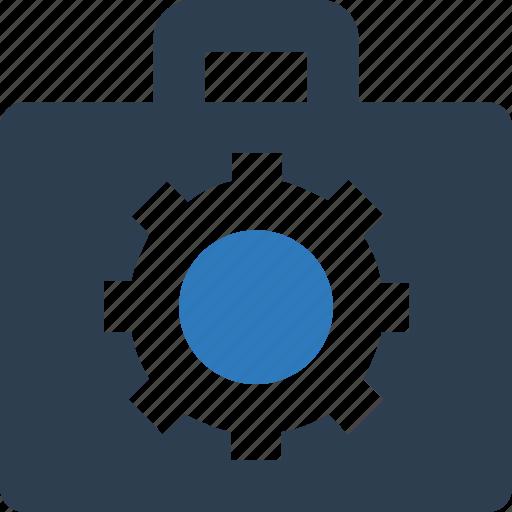 briefcase, cog with portofiolo, edit portfolio, portfolio settings, tools kit, update portfolio icon