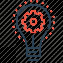 bulb, gear, idea, imagination, innovation, light, setting icon