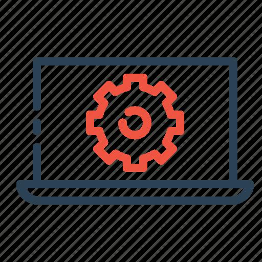 configure, device, gear, laptop, manage, setting, web icon
