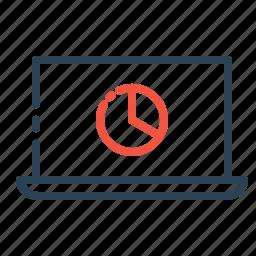 cloud, computer, device, laptop, online, piechart, storage icon