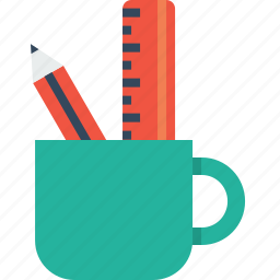 container, mug, office, pencil, ruler, statiobary, table icon