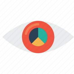 eye, future, mission, pie chart, statics, target, vision icon
