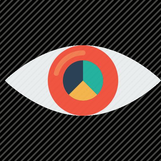 eye, future, mission, pie chart, statics, target, vision icon