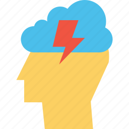 cloud, idea, innovation, invention, lightning, man, person icon