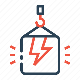 bolt, climb, crain, electricity, lift, package, thunder icon