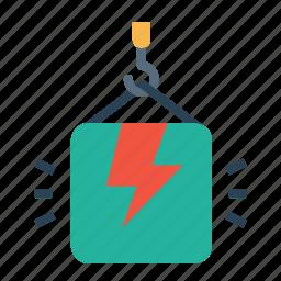 bolt, climb, crain, high, lift, package, thunder icon