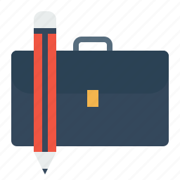 bag, briefcase, carry, folder, office, pen, stationary icon