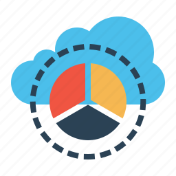 analysis, cloud, data, performance, pie chart, report, statics icon