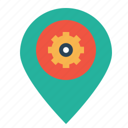 market, optimization, pin, place, preferences, seo, settings icon