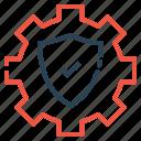 secure, shield, gear, settings icon