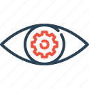 eye, preferences, settings, mission, view, vision, gear icon