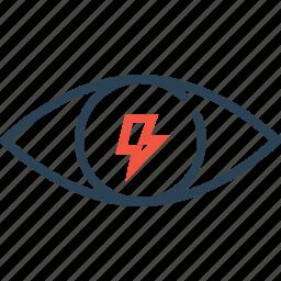 eye, internet, mission, thunder, view, vision, web icon