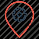 preferences, pin, settings, optimization, place, market icon