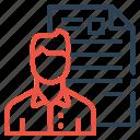 resume, avatar, employee, portfolio, document, shortlisted, man icon