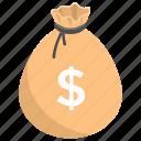 asset, coins sack, investment, liquid money, money bag, money sack