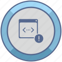 api, code, error, program, script, warning icon