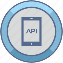 api, code, mobile, phone, program icon