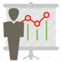 communications, discussion, person, presentation, statistics icon