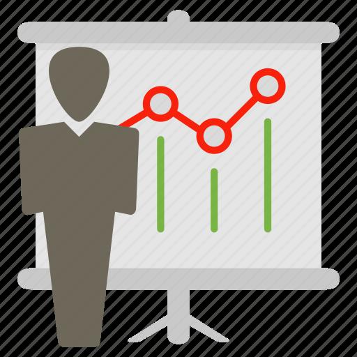 communications, discussion, person, presentation, statistics icon