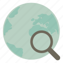 find, magnifier, magnifying, search, world icon