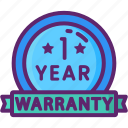 1 year, one, warranty, year icon