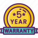 5 year, five, warranty, year icon
