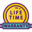 life, manufacturer, time, warranty icon
