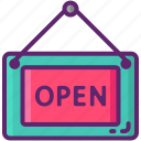 open, sign icon