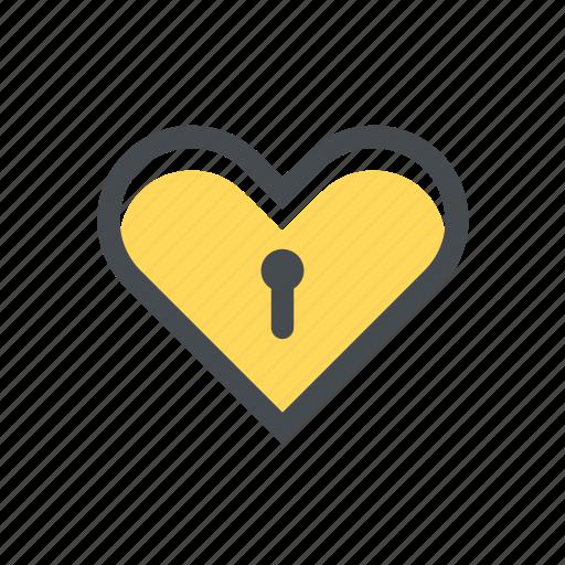 heart, key, locked, love, padlock, protection, security icon