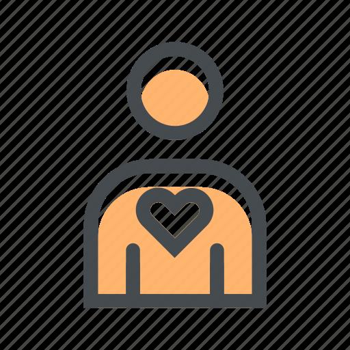 avatar, favorite, heart, love, person, profile, user icon