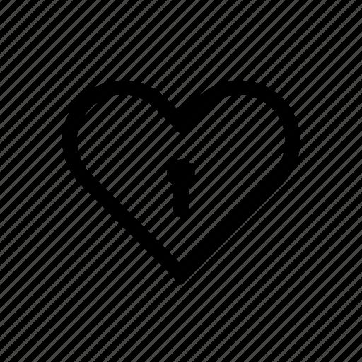 heart, key, locked, padlock, protection icon