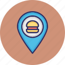 burger market, burger shop, cafe location, fast food, map pin icon