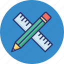 scale, geometrical tools, ruler, measuring tools, pencil icon