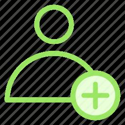add, avatar, man, new, person, usericon icon