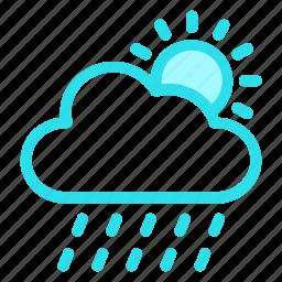 atmosphere, colud, rain, sun, weathericon icon