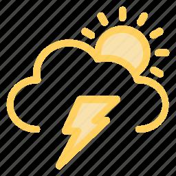 cloud, light, sun, thunderstormicon icon