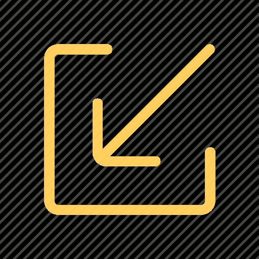 arrow, inbox, receiveicon, screen, small icon